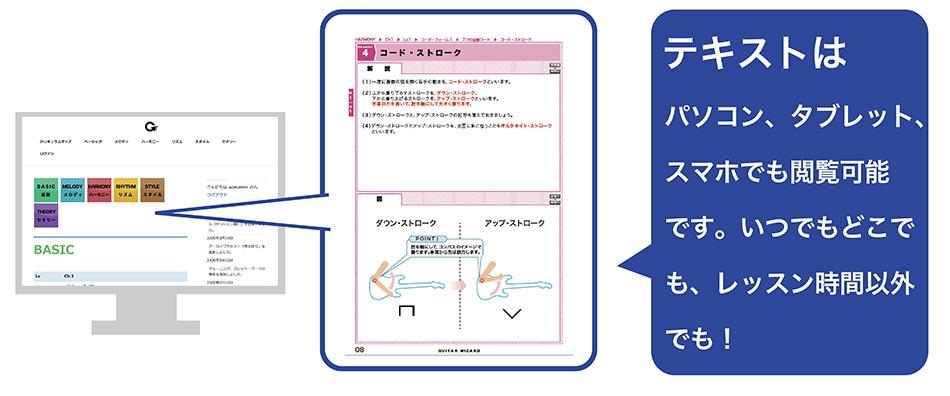 テキストはパソコン、タブレット、 スマホでも閲覧可能 です。いつでもどこで も、レッスン時間以外でも!